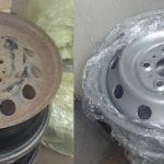 Przed i po felga stalowa lakierowana proszkowo